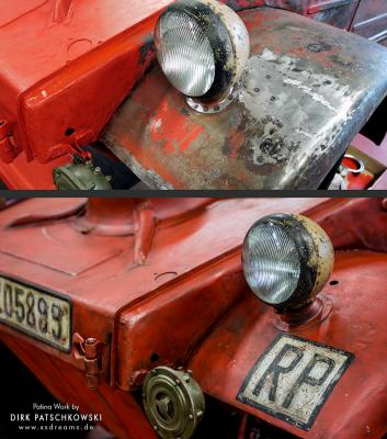 Detailsansicht Reichspost Kübelwagen © Dirk Patschkowski © Dirk Patschkowski © Dirk Patschkowski / Limited-Legends / Patina / Patinierung/ Oldtimer / Lack / Patina / der Patinator /
